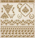 Set of vector damask ornaments. stock illustration