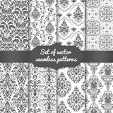 Set of vector damask seamless pattern backgrounds. Classical luxury old fashioned damask ornament, royal victorian seamless texture for wallpapers, textile Royalty Free Stock Photography