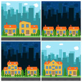 Set of vector day and night city with cartoon houses and buildings Royalty Free Stock Image