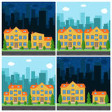 Set of vector day and night city with cartoon houses and buildings Royalty Free Stock Photography