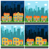 Set of vector day and night city with cartoon houses and buildings Stock Images