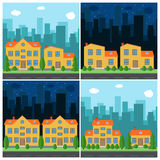 Set of vector day and night city with cartoon houses and buildings. Stock Photography