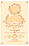 Set of vector decorative autumn floral elements for design Stock Images