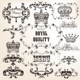 Set of vector decorative calligraphic elements in vintage style Royalty Free Stock Image