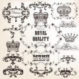 Set of vector decorative calligraphic elements in vintage style. Vector set of calligraphic elements for design. Calligraphic vector Royalty Free Stock Image