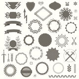Set of Vector Decorative Elements in Art Deco Vintage Style. Collection of Decorative Frames, Geometric Shapes and another Items for your Retro Style Design royalty free illustration