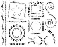Set of vector decorative elements and brush Stock Images
