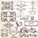 Set of vector decorative elements in vintage style Stock Images