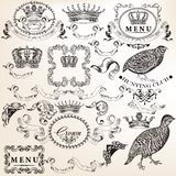 Set of vector decorative elements in vintage style Royalty Free Stock Photography