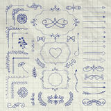 Set of Vector Decorative Hand Drawn Design Elements Royalty Free Stock Image