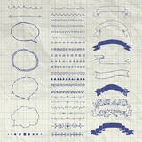 Set of Vector Decorative Hand Drawn Design Elements Royalty Free Stock Photography