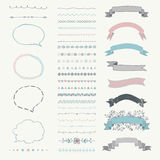 Set of Vector Decorative Hand Drawn Design Elements Stock Photos