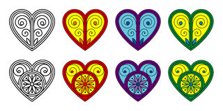 Set of vector decorative hearts Royalty Free Stock Image