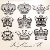 Set of vector decorative heraldic crowns in vintage style Stock Photos