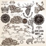 Set of vector decorative hunting and floral elements in vintage vector illustration