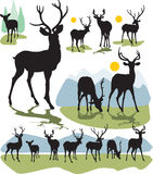 Set vector deer silhouettes Stock Photography