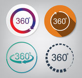 Set vector of 360 degrees. View sign icon Royalty Free Stock Images