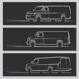 Set of vector delivery van or commercial vehicle silhouettes Stock Photography