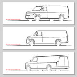 Set of vector delivery van  silhouettes Royalty Free Stock Photos