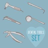 Set of vector dental tools. Cartoon style. Stock Image