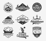 Set of vector desert adventures logo. Desert wild nature icons for tourism organizations, outdoor adventures and camping leisure Royalty Free Stock Images