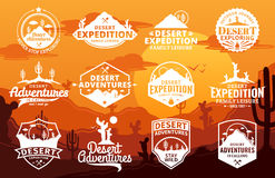 Set of vector desert and outdoor adventures logo. On desert landscape background. Desert wild nature icons for tourism organizations, outdoor events and camping Royalty Free Stock Photography