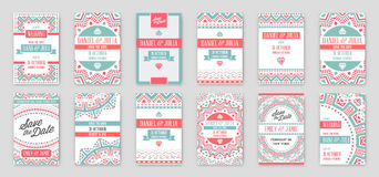 Set of Vector Design Awesome Wedding Invitation Template with Ma Stock Photography