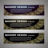 Set Vector design Banner background. Header, horizontal,. On black, On black, ligature pattern Royalty Free Stock Photography