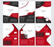 Set of Vector design of the black and red flyers, cover, brochure, poster, report with places for pictures. Royalty Free Stock Image