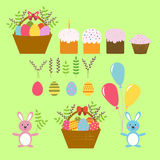 Set of Vector Design Elements for Happy Easter in the Flat Stile Royalty Free Stock Photos