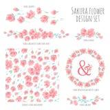 Set of vector design elements with Sakura blossom Japanese cherry Royalty Free Stock Photos