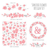 Set of vector design elements with Sakura blossom Japanese cherry Royalty Free Stock Images