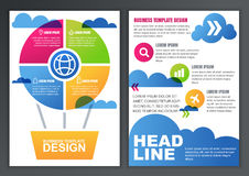 Set of vector design template for business, brochure, flyer, pos. Ter, application and online service. Colorful flying air balloon and clouds illustration stock illustration