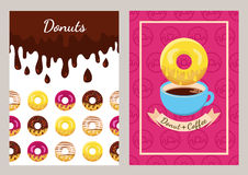 Set of vector design template with coffee and donuts pattern. Seamless fast food background. Concept for cafe, restaurant, breakfast menu, desserts, bakery Royalty Free Stock Images