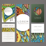 Set of vector design templates. Brochures in random colorful style. Vintage frames and backgrounds. Stock Images