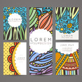 Set of vector design templates. Brochures in random colorful style. Vintage frames and backgrounds. Stock Photo