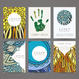 Set of vector design templates. Brochures in random colorful style. Vintage frames and backgrounds. Stock Photos