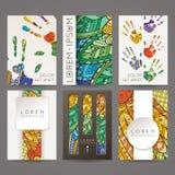 Set of vector design templates. Brochures in random colorful style. Zentangle designs. Stock Photography