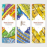 Set of vector design templates. Brochures in random colorful style. Zentangle designs. Royalty Free Stock Image