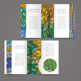 Set of vector design templates. Brochures in random colorful style. Zentangle designs. Stock Photo