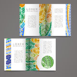 Set of vector design templates. Brochures in random colorful style. Zentangle designs. Royalty Free Stock Images