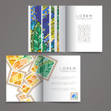 Set of vector design templates. Brochures in random colorful style. Zentangle designs. Stock Photography