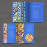 Set of vector design templates. Brochures in random colorful style. Zentangle designs. Stock Photos