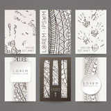 Set of vector design templates. Brochures in random colorful style. Zentangle designs. Royalty Free Stock Photo