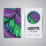 Set of vector design templates. Business card with adstract circle ornament. Set of vector design templates. Brochures in random colorful style. Vintage frames Stock Photos
