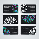 Set of vector design templates. Business card with circle ornament. Royalty Free Stock Photography