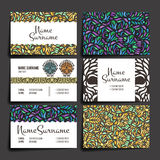 Set of vector design templates. Business card with floral circle ornament. Royalty Free Stock Photo