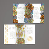 Set of vector design templates. Business card with floral circle ornament. Stock Image