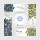 Set of vector design templates. Business card with floral circle ornament. Royalty Free Stock Image