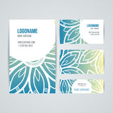 Set of vector design templates. Business card with floral circle ornament. Mandala style. Stock Photos